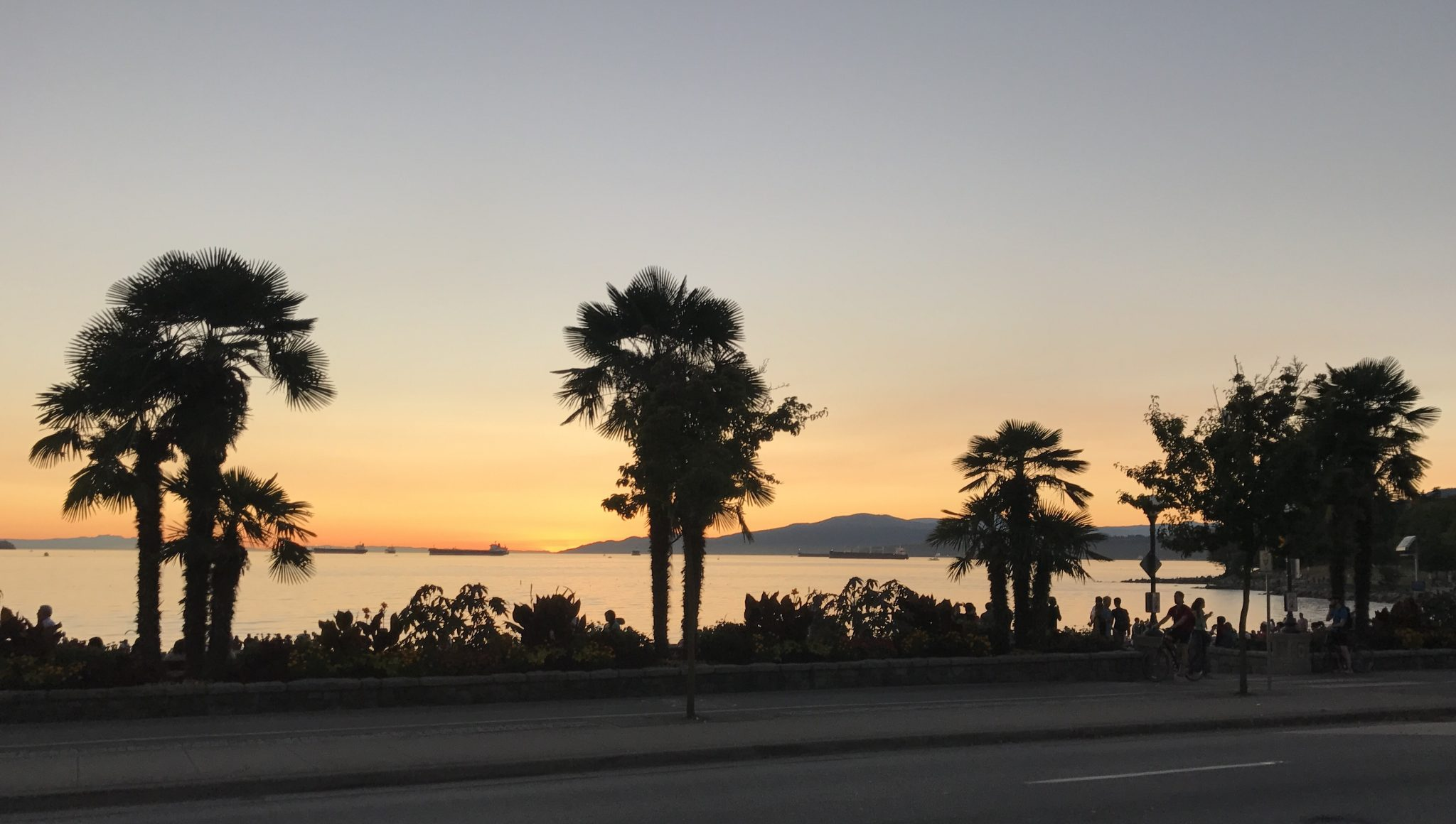 Solnedgang ved English Bay i Vancouver